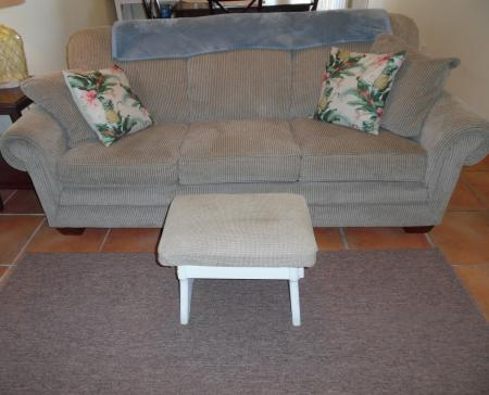 Click to enlarge image Queen sleeper sofa for extra guests - Palm Cottage - Old town cottage near historic downtown Port Aransas. Two bedrooms, one bath, small laundry, quaint and cute patio area. Dog Friendly
