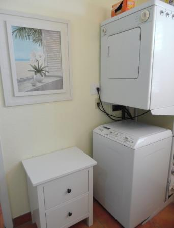 Click to enlarge image Washer and dryer for your convenience - Palm Cottage - Old town cottage near historic downtown Port Aransas. Two bedrooms, one bath, small laundry, quaint and cute patio area. Dog Friendly