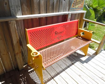 Click to enlarge image Your beer bench on the back porch! - Palm Cottage - Old town cottage near historic downtown Port Aransas. Two bedrooms, one bath, small laundry, quaint and cute patio area. Dog Friendly