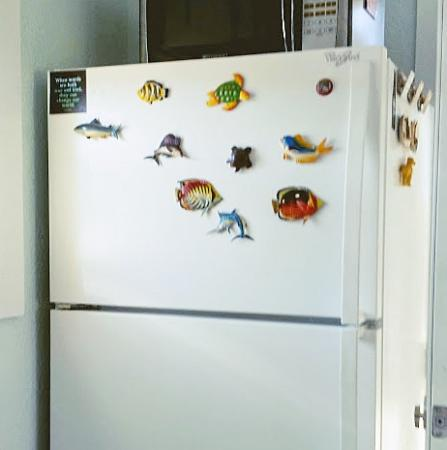 Click to enlarge image Full size fridge - La Tortuga, lovely new remodel, Spanish Village #12 - Charming coastal cottage, private fenced yard, dog ok