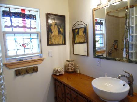 Click to enlarge image Big vanity with vessel sink. - Casita Jardin, 1 Bedroom, 1 Bath Upper Floor Bungalow, Sleeps 2, - No children, No Pets, Walk to Restaurants, Nightlife, and Shopping